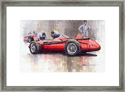 Final Check Before The Start Maserati 250 F 1957 Framed Print