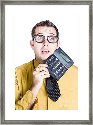 Finance Businessman With Calculator Framed Print by Jorgo Photography - Wall Art Gallery