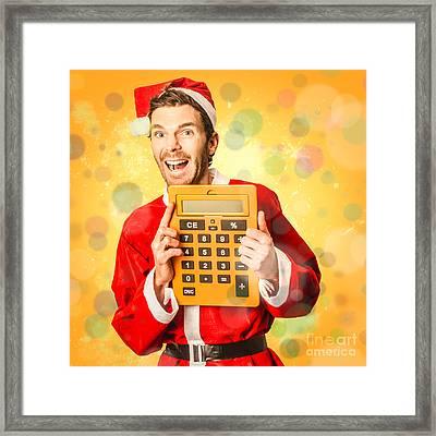 Finance Calculator Santa With Christmas Savings Framed Print