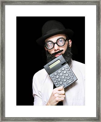 Financial And Accounting Genius With Calculator Framed Print by Jorgo Photography - Wall Art Gallery