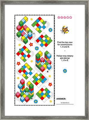 Find Top View Visual Math Puzzle Framed Print