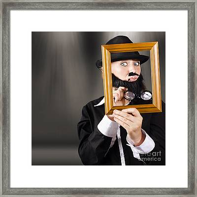 Fine Art Buyer Studying Picture In Modern Gallery Framed Print