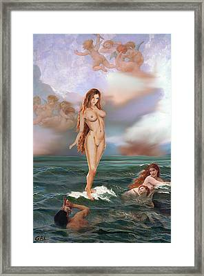 Fine Art Female Nude Tasha As Goddess Aphrodite Framed Print by G Linsenmayer