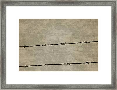 Fine Art Photograph Barbed Wire Over Vintage News Print Breaking Out  Framed Print
