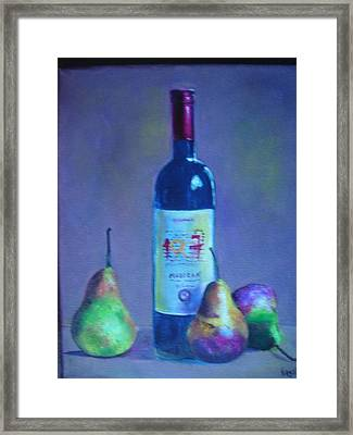 Fine Wine Paintings - A French Wine With Pears Framed Print by Virgilla Lammons