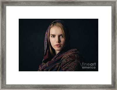 Fineart Portrait Of A Beautiful Young Blonde Woman With Scarf On Dark Background. Framed Print by Rostyslav Zabolotnyi