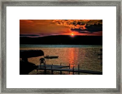 Finger Lakes New York Sunset By The Dock 04 Framed Print