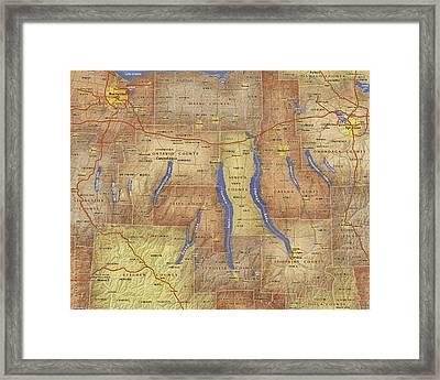 Finger Lakes Of New York Watercolor Map Framed Print