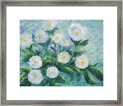 Finger Painted Garden Flowers Framed Print
