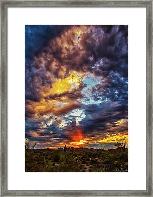 Finger Painted Sunset Framed Print