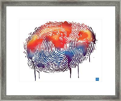 Finger Print Map Of The World Framed Print by Sassan Filsoof