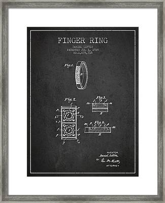 Finger Ring Patent From 1928 - Charcoal Framed Print by Aged Pixel