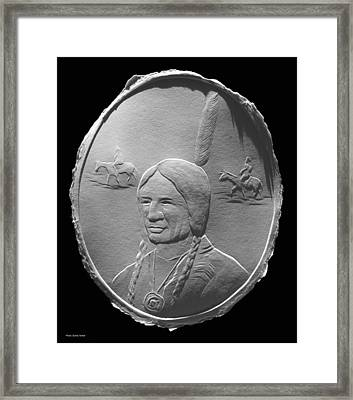 Fingernail Relief Drawing Of American Indian  Framed Print by Suhas Tavkar
