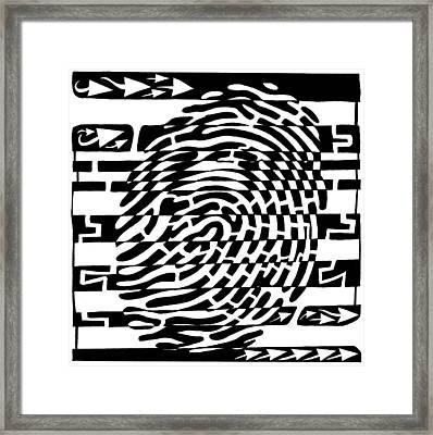 Fingerprint Scanner Maze Framed Print by Yonatan Frimer Maze Artist