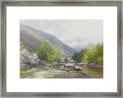 Fingle Bridge On The Teign Framed Print by Frederick John Widgery