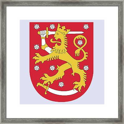 Framed Print featuring the drawing Finland Coat Of Arms by Movie Poster Prints