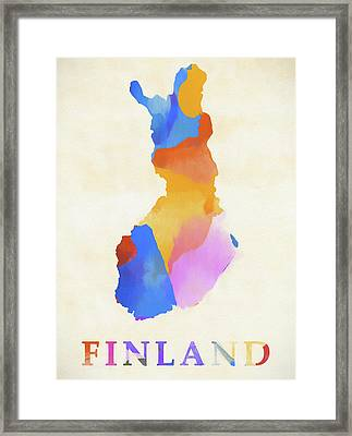 Finland Watercolor Map Framed Print
