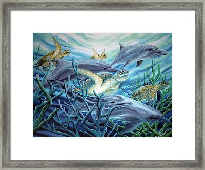 Fins And Flippers Framed Print by William Love