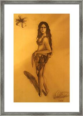 Framed Print featuring the drawing Fi'on-hu by Michelle Dallocchio