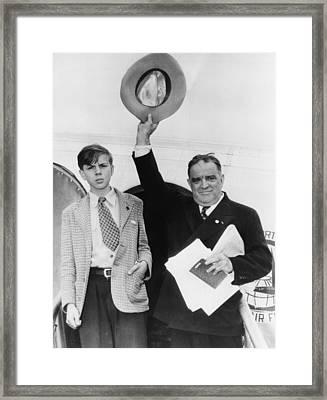 Fiorello Laguardia And His Son, Eric Framed Print