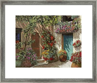 Fiori In Cortile Framed Print by Guido Borelli