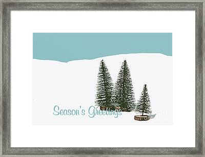 Fir Trees In The Snow Christmas Card Framed Print by Wolf Kettler