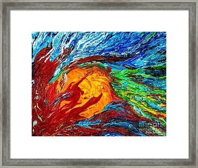 Fire And Ice Elementals - Impasto Abstract Framed Print