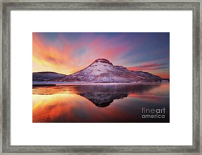 Fire And Ice - Flatiron Reservoir, Loveland Colorado Framed Print by Ronda Kimbrow