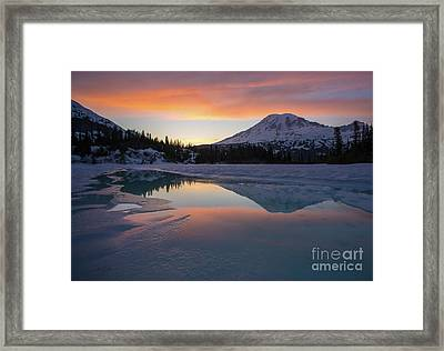 Fire And Ice Rainier Winter Lake Reflection Framed Print