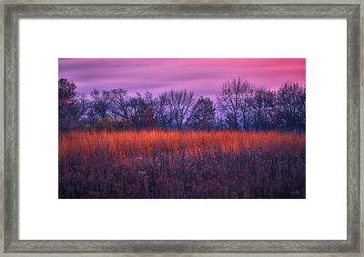 Fire And Ice - Sunset And Prairie At Retzer Nature Center Framed Print