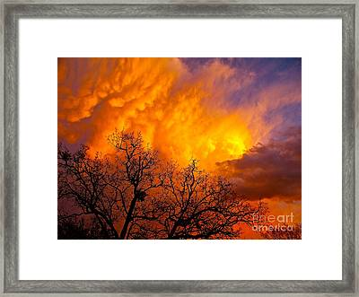 Fire And Water In The Sky Framed Print by Chuck Taylor