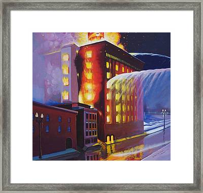 Fire At The Butternut Building Framed Print by Bobbi Baltzer-Jacobo