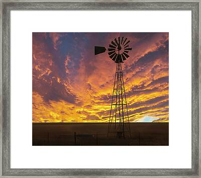 Fire At The Ranch Framed Print