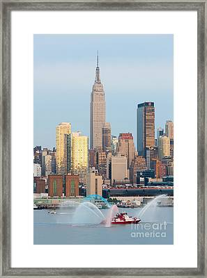 Fire Boat And Manhattan Skyline IIi  Framed Print by Clarence Holmes