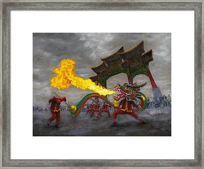 Framed Print featuring the painting Fire-breathing Dragon Dancer by Jason Marsh