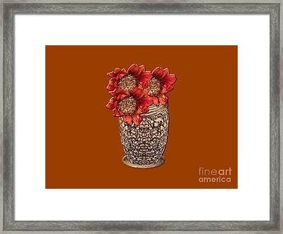 Fire Brick Flora Vase Framed Print