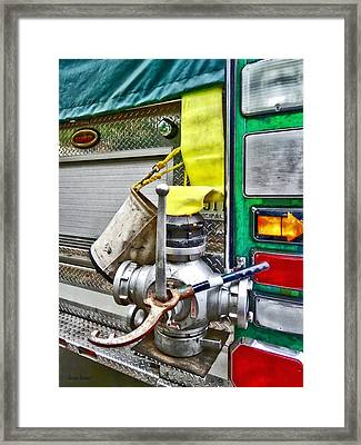 Fire Bucket And Yellow Fire Hose Framed Print