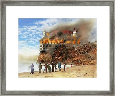 Framed Print featuring the photograph Fire - Cliffside Fire 1907 by Mike Savad