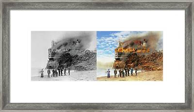 Fire - Cliffside Fire 1907 - Side By Side Framed Print by Mike Savad
