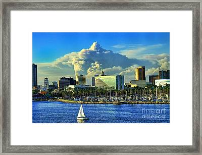 Framed Print featuring the photograph Fire Cloud Over Long Beach by Mariola Bitner