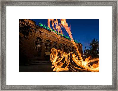 Fire Dancers In Spokane W A Framed Print by Steve Gadomski