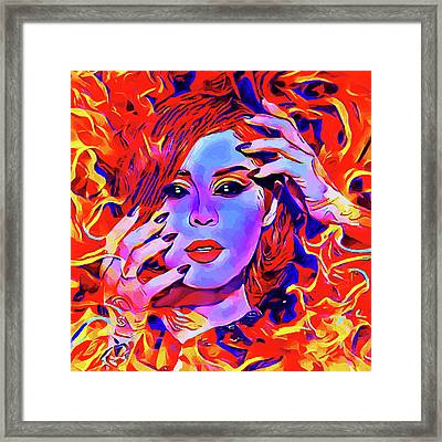 Fire Demon Woman Abstract Fantasy Dark Goth Art Framed Print