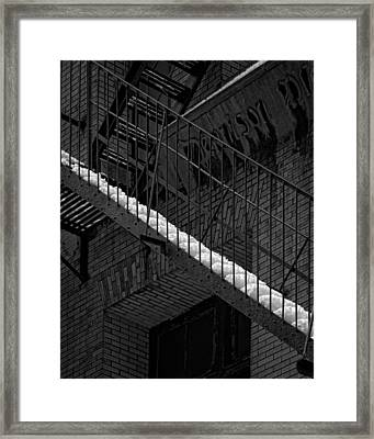 Fire Escape And Snow Framed Print