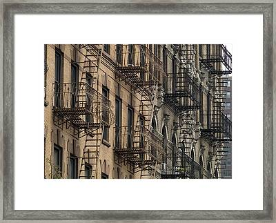 Fire Escapes On Brownstone Apartment Framed Print by Everett