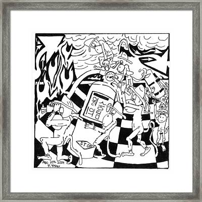 Fire Extinguishing Team Of Monkeys Maze Framed Print