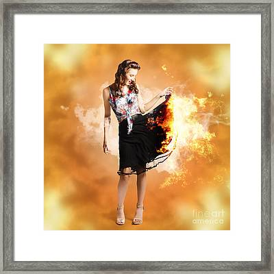 Fire Fashion Female Pin-up Framed Print by Jorgo Photography - Wall Art Gallery