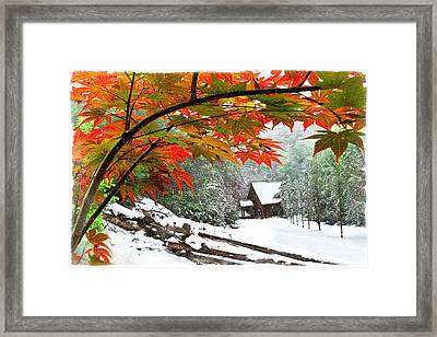 Fire Fog And Snowy Fence Framed Print by Debra and Dave Vanderlaan