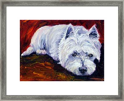 Fire Glow - West Highland White Terrier Framed Print by Lyn Cook
