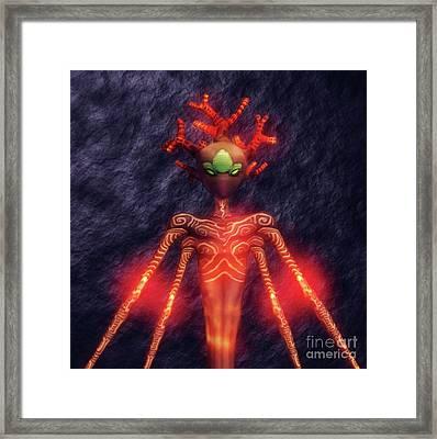 Fire God Of Hell By Sarah Kirk Framed Print by Sarah Kirk