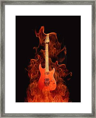 Fire Guitar Framed Print by Art Spectrum